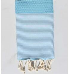 Strandutch Waben hellblaue Maya mit Streifen