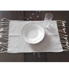 Mini Tischset grau mit silbernem Lurexfaden