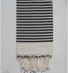 Fouta waben beige gestreift 1 cm schwarzer Streifen