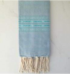 Fouta thalasso blaue Kornblume mit hellblauen Mustern