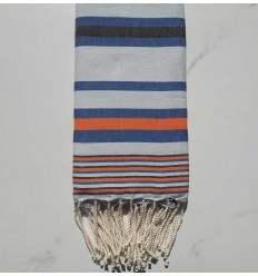 Fouta Dina hellblau gestreift anthrazit, blau und orange