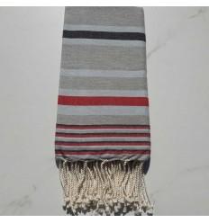 Fouta Dina gestreift grau himmelblau, anthrazit und rot