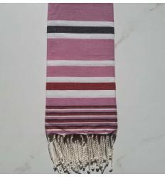 Fouta Dina pink gestreift weiß, anthrazit und rot