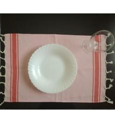 Mini Fouta platte rosa gestreift rot
