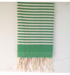 FOUTA waben grün gestreift 1 cm
