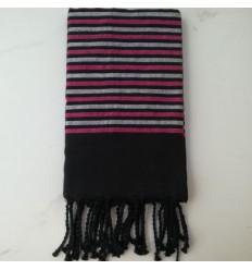 Fouta Lurex platte schwarz, pink und silber