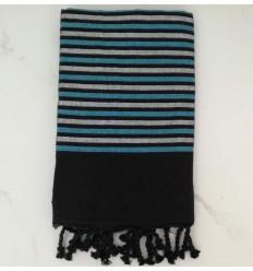 Fouta Lurex platte schwarz, blau und silber