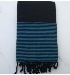 FOUTA Lurex Lurex waben schwarz gestreift azurblau