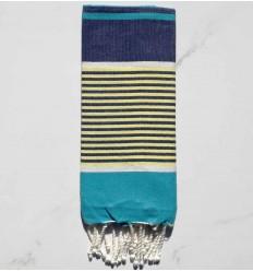 Flaches Strandtuch für Kinder azurblau, dunkelblau, gelb und weiß