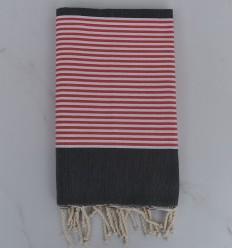 Strandtuch platte dunkelgrau gestreift rot Englisch und weiß