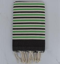 Strandtuch Fouta waben weiße creme, grüne und dunkle bistres gestreift 1 cm