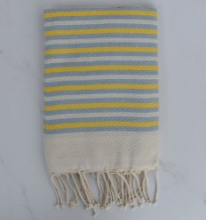 Strandtuch Gestreifter 1 cm gelber und blauer Streifenwagen