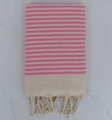 Strandtuch Fouta waben gestreift 1 cm hellrosa Streifen