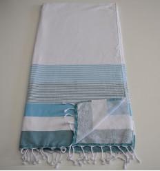 Strandtuch Schwamm Weiß, Hellblau und Ente