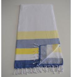 Strandtuch Schwamm weiß, gelb und blau