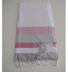 Strandtuch Fouta weißer, rosa und grauer Schwamm