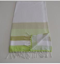 Strandtuch weißer Schwamm, hellgrün und hell khaki
