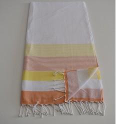 Strandtuch Schwamm weiß, gelb und orange