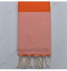Strandtuch waben weiß gestreift orange