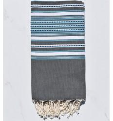 Strandtuch arabeske grau mit hellblauen Streifen