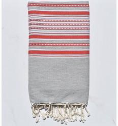 strandtuch hellgraue Arabeske mit roten Streifen