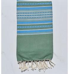 Strandtuch grüne Arabeske mit blauen Streifen