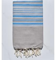 Strandtuch Arabeske helle Taupe mit blauen Streifen