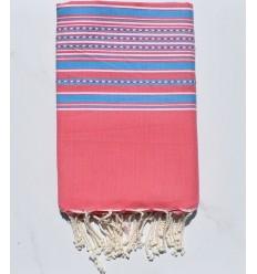 Strandtuch rosa Arabeske mit blauen Streifen