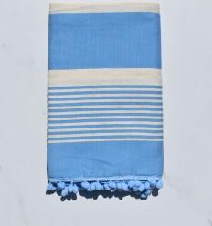 Strandtuch weiße Creme und Blau