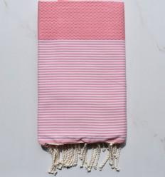 Strandtuch waben weiß gestreiftes Pastellrosa