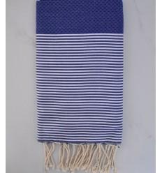 strandtuch Waben Ultramarinblau gestreift weiß