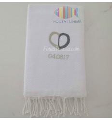 hübsch Strandtuch Fouta für Hochzeit bestickt 100% baumwolle
