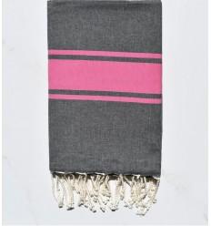 strandtuch platte dunkelgrau mit rosa Streifen