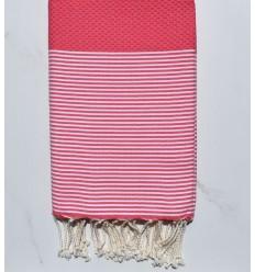 Fouta honeycomb rosa Erdbeere weiß gestreift