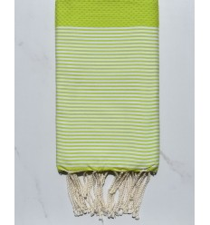 Fouta HONEYCOMB Green lime weiß gestreift