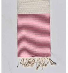 Strandtuch waben hellbeige gestreift rosa