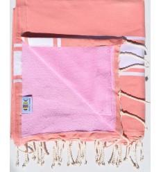 Strandtuch Doppelte Schwamm Lachs und pink klar