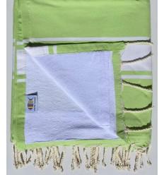 Strandtuch verdoppelt Schwamm grün pistazie und weiß