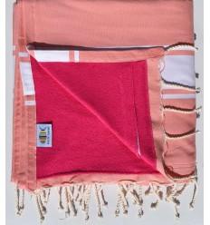 Strandtuch verdoppelt Schwamm Lachs und rosa, Fuchsie