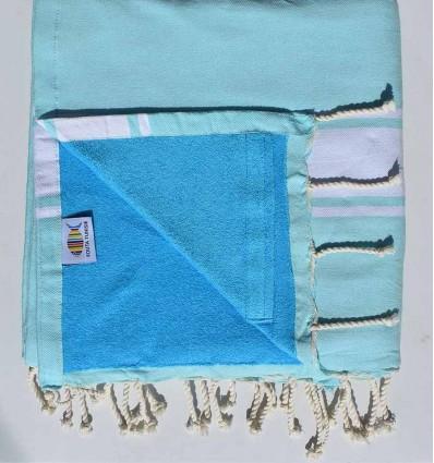 Strandtuch Doppelte Schwamm blau akut marin und himmlisch