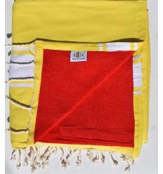 Strandtuch Doppelte Schwamm gelb Kobalt und rot