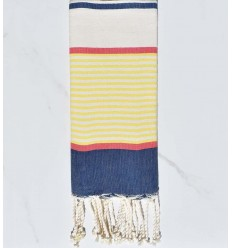 Flaches Strandtuch für Kinder dunkelblau, gelb, rot, gebrochen weiß