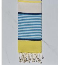 Flaches Strandtuch für Kinder blaue, dunkelblaue Jeans, gelb und cremefarben