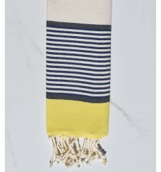 Flaches Strandtuch für Kinder Gelb, Schiefer, Dunkelblau und gebrochenes Weiß