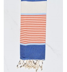 Kinder Handtuch flacher Strand Blue Jeans, Himmelblau, Orange und Cremeweiß-