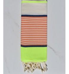 Flaches Strandtuch für Kinder Fluo, Jeansblau, Orange und gebrochenes Weiß