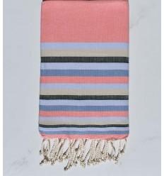 Strandtuch flach rosa incarnadine, hellblau , Beige, azurblau und grün