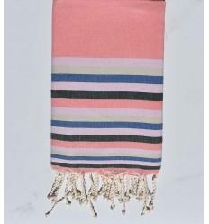Strandtuch flach rosa incarnadine , hellrosa , Beige, blau und grün