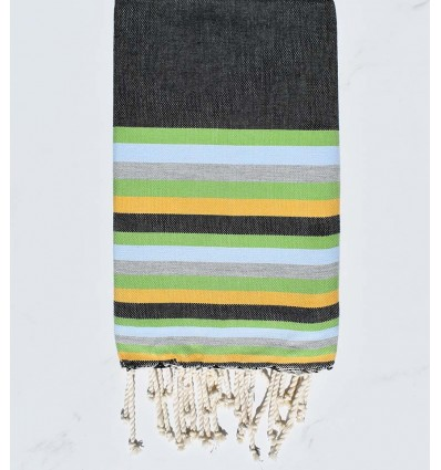Strandtuch flach schwarz, grün, blau, grau und gelb
