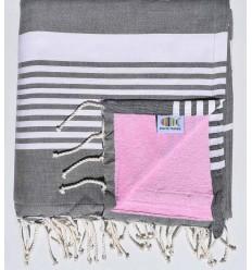 Strandtuch verdoppelte Arthur Schwamm dunkelgrau und pink